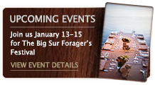 Join us in Big Sur from January 13th through 15th for The Big Sur Forager's Festival – More details here.