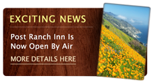 Exciting News: Post Ranch Inn Is Now Open By Air. For more information, please click here.