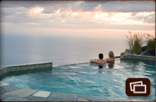 Couple enjoying the view from the Infinity Jade Pool