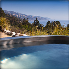 Pacific Ocean views from the stainless steel hot tub of the South Coast House