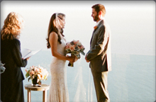 newly wed couple on Cliff House deck