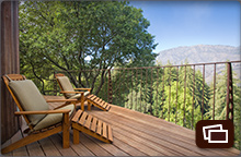 Mountain views from the deck of a Upper Mountain House accommodation
